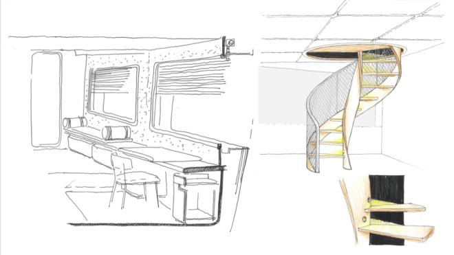 Navetta 30 interior sketches by Antonio Citterio Patricia Viel (ACPV)