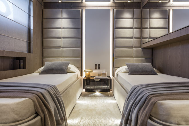 Lower-deck guest cabins comprise two doubles and two twins (pictured)