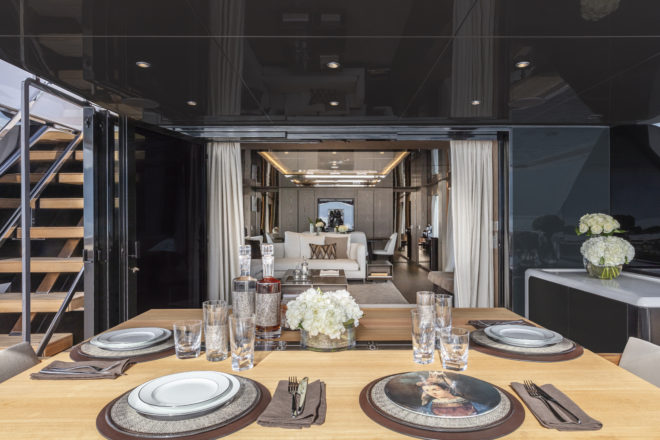 The cockpit has a large, adjustable table for al fresco dining