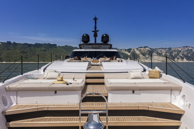 The exceptional foredeck features a central passageway that links an outdoor lounge, separate sunbathing zones and a working area in the bow