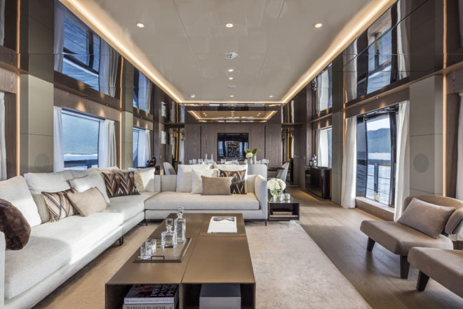 The layout of the large saloon can be customised, while options include a sliding door on the starboard side, which was selected for hull one