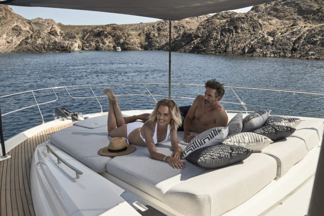 The 590S, which had its world premiere at Boot Dusseldorf this year, illustrates Prestige's focus on relaxed comfort and outdoor living