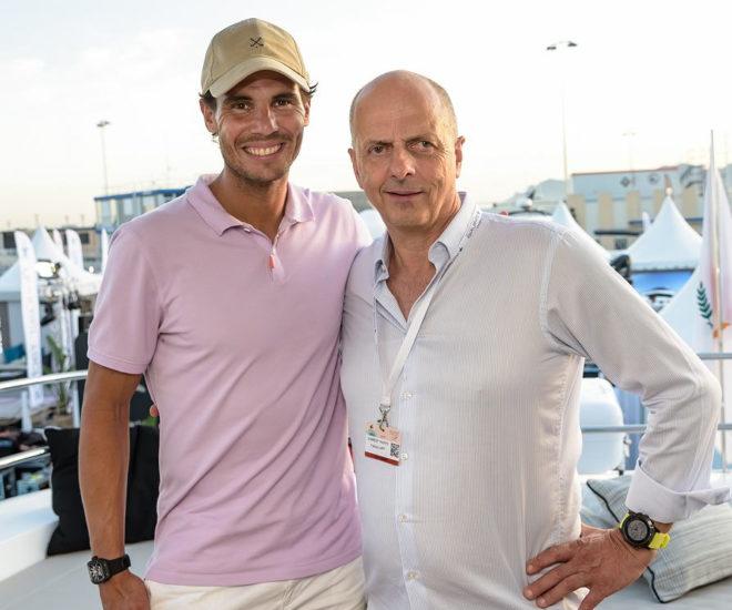 Tennis legend Rafa Nadal with Francis Lapp, President of Sunreef Yachts