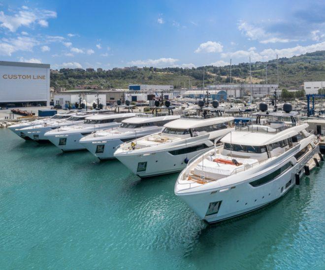 Custom Line yachts at Ferretti Group Superyacht Yard at Ancona