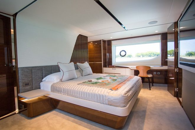 The master suite on the Y85, the flagship of the Y Class until the launch of the Y95