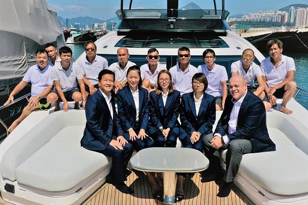 Marine Italia's Hong Kong staff at the company's Marinetec shipyard in Hong Kong