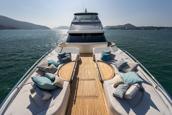 The flexible foredeck on the MCY 70 Skylounge in Hong Kong