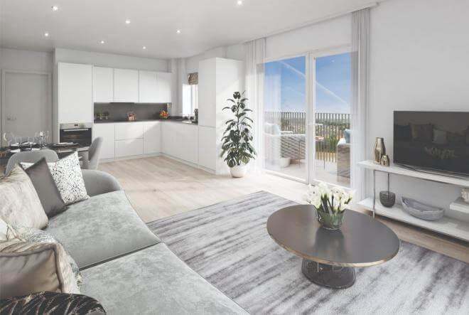 Living room design at Eastman Village