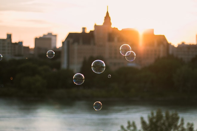 bubbles against a building in canada