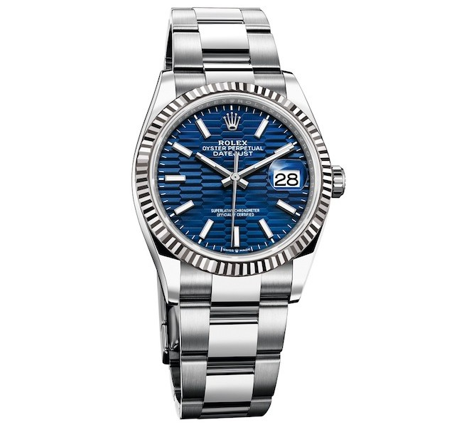 RolexDatejust 36 with blue fluted motif dial