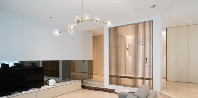 Crisp aesthetics of the living room of home in Chelsea Gardens.