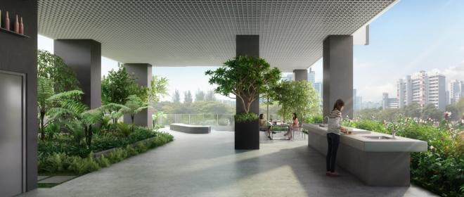 Social spaces offering greenery at Jui Residences.