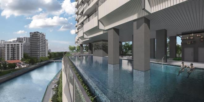 Lap pool views at Jui Residences looking out to the Kallang River.