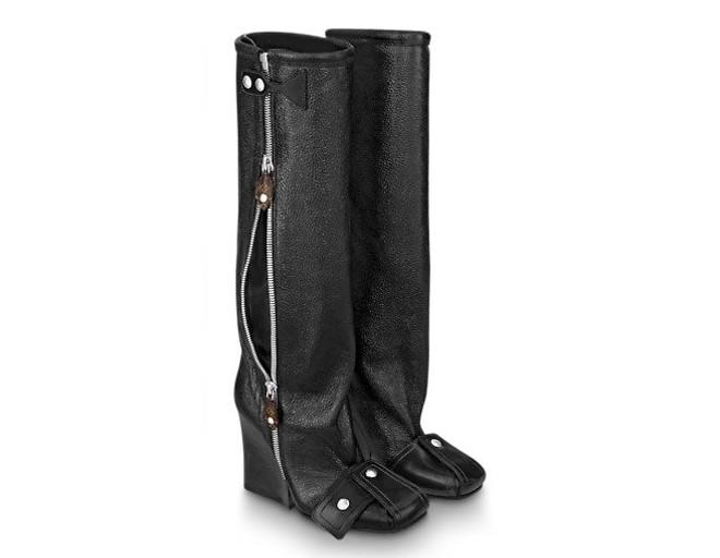 prada patti wedge boots black